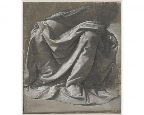 """Léonard de Vinci, \""""Draperie Saint-Morys. Figure assise\"""", vers 1475-1482. Paris, musée du Louvre, département des Arts graphiques"""