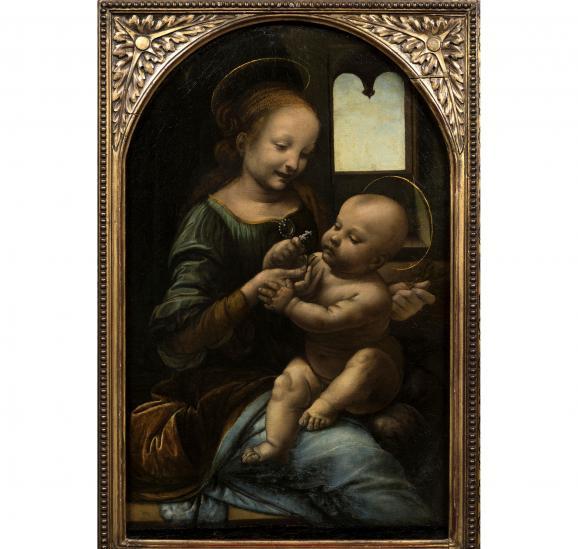"""Léonard de Vinci, \""""Vierge à l'Enfant\"""", dite \""""Madone Benois\"""", vers 1480-1482. Saint-Pétersbourg, musée de l'Ermitage"""