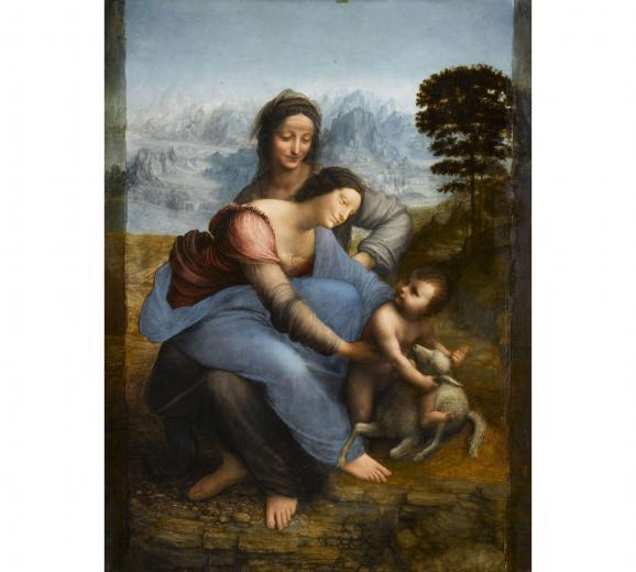 """Léonard de Vinci, \""""Sainte Anne, la Vierge et l'Enfant Jésus jouant avec un agneau\"""", dite \""""La Sainte Anne\"""", vers 1503-1519. Paris, musée du Louvre, département des Peintures"""