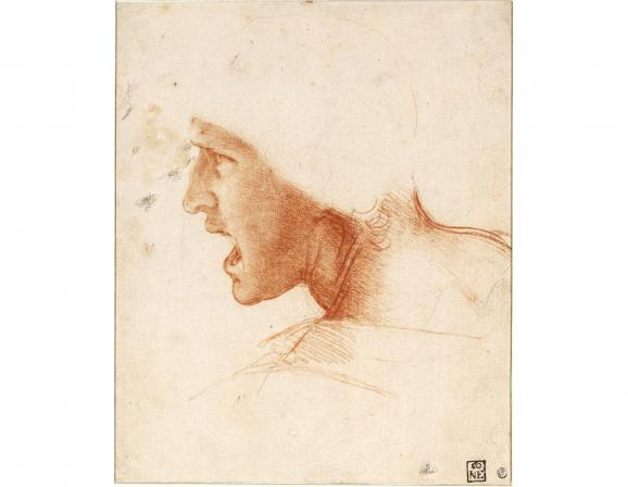 """Léonard de Vinci, \""""Étude de figure pour la Bataille d'Anghiari\"""", vers 1504. SBudapest, Szépművészeti Múzeum"""