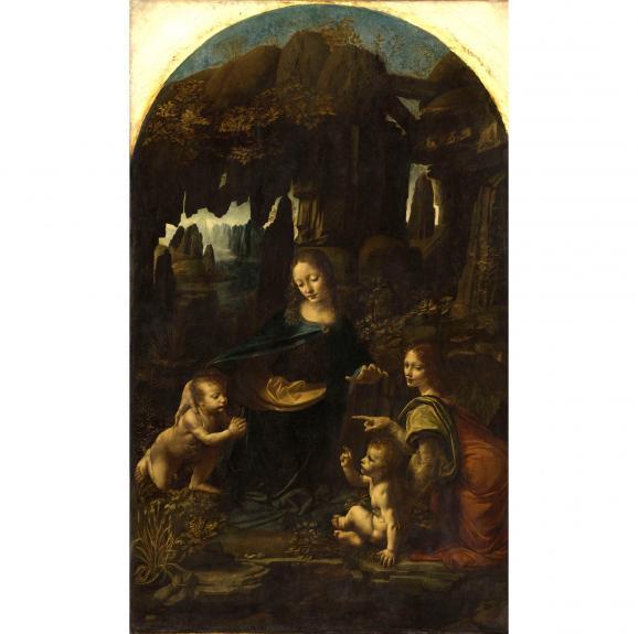 """Léonard de Vinci, \""""Vierge à l'Enfant avec saint Jean Baptiste et un ange\"""", dite \""""La Vierge aux rochers\"""", vers 1483-1494. Paris, musée du Louvre,département des Peintures"""