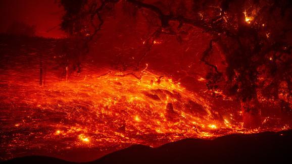 """Le \""""Kincade Fire\"""" ravage des vignobles de Geyserville, en Californie(Etats-Unis), le 24 octobre 2019."""