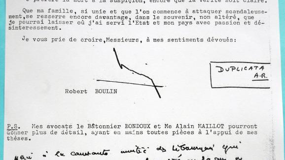 """Reproduction photographiée le 4 avril 2011 d\'une lettre de Robert Boulin envoyée au journal \""""Sud Ouest\""""."""