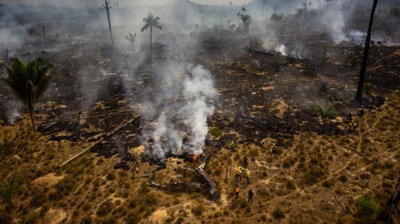 Des membres de l\'agencede l\'environnementbrésilienne (Ibama) luttent contre les flammes dans l\'installation rurale amazonienne de Nova Fronteira, dans l\'Etat de Pará, le 3 septembre 2019.