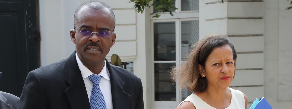 Ary Chalus et Marie-Luce Penchard, respectivement président et vice-présidente de la région Guadeloupe, ici le 29 juin 2018 à Matignon.