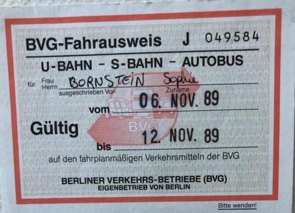 Unticketdetransport, au nom de Sophie Bornstein, valable du 6 au 12 novembre 1989.