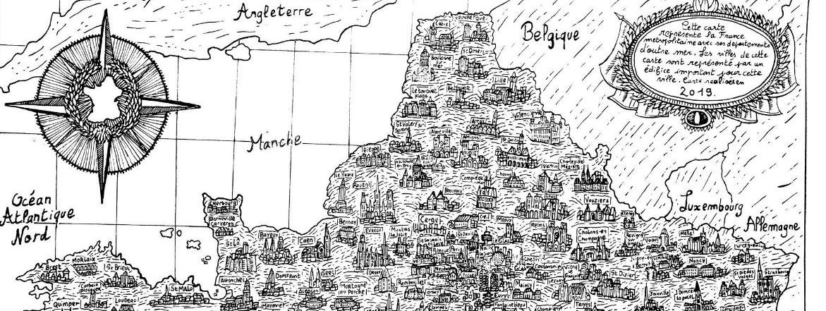 La carte de France de cet étudiant, entièrement dessinée à l'encre de Chine, captive les internautes