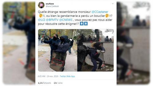 """Un an des """"gilets jaunes"""" : un gendarme était-il infiltré avec son bouclier parmi les casseurs ?"""