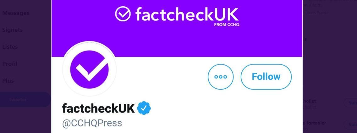Royaume-Uni : sur Twitter, le Parti conservateur se fait passer pour un site de vérification des faits
