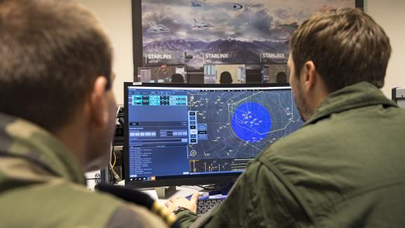"""La salle \""""Jeannette\"""", d\'où est contrôlé l\'exercice Volfa, sur la base aérienne 106 de Mont de Marsan, le 20 novembre 2019"""