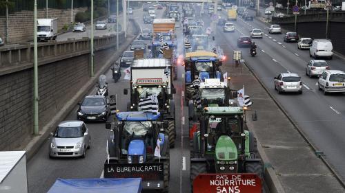 """""""C'est sur la place parisienne qu'il faut venir aujourd'hui se faire entendre"""" explique la FNSEA Île-de-France qui veut faire converger 1 000 tracteurs à Paris"""