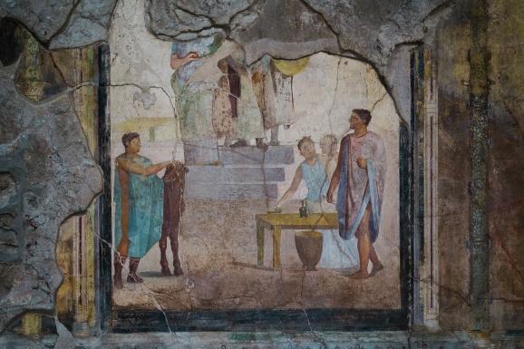 Une fresque dans La Maison des Cupidons d\'Or, désormais visitable sur le site de Pompei (Italie), le 25 novembre 2019.