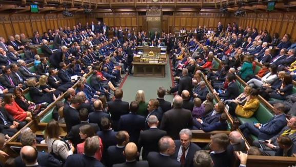 L\'intérieur de la Chambre des communes britanniques, le 24 octobre 2019 à Londres (Royaume-Uni).