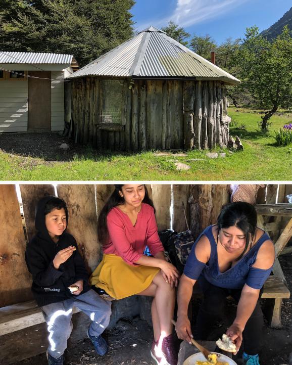 """Une \""""ruka\"""" traditionnelle mapuche. Tralkan, Sayen et Veronica Quintehuel prennent leur petit-déjeuner à Reigoril au Chili, le 23 novembre 2019."""