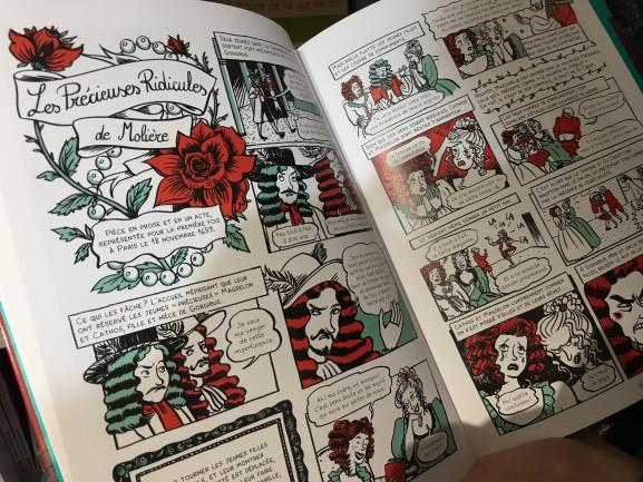 """Pages intérieures de \""""Molière\"""", de Jean-Michel Coblence, illustré par Elléa Bird (Casterman - Les classiques en BD)"""