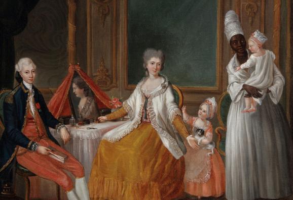 Riche famille bordelaise au XVIIIe siècle. A droite, une servante noire tient le dernier-né dans ses bras.