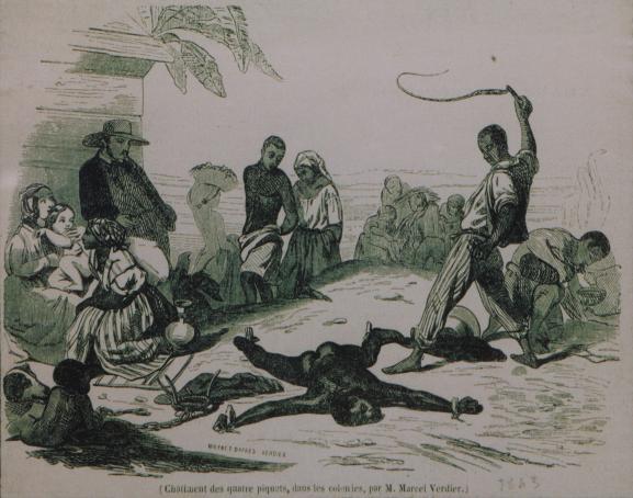 Un esclave subit la punition du fouet. Dessin d\'Eugène Ferdinand Bultura (1812-1852), fac simile au musée d\'Aquitaine à Bordeaux, original au musée du Quai Branly à Paris.