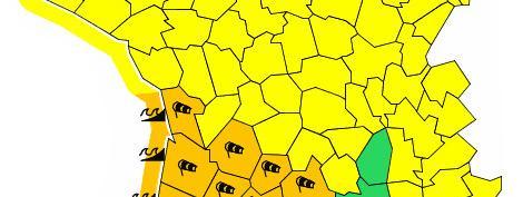 """Intempéries : 14 départements du Sud-Ouest en vigilance orange """"vent"""", """"pluie-inondation"""" et """"vagues-submer..."""
