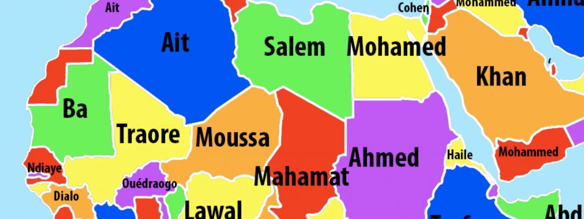 Quels sont les noms de famille les plus courants, pays par pays, en Afrique ?