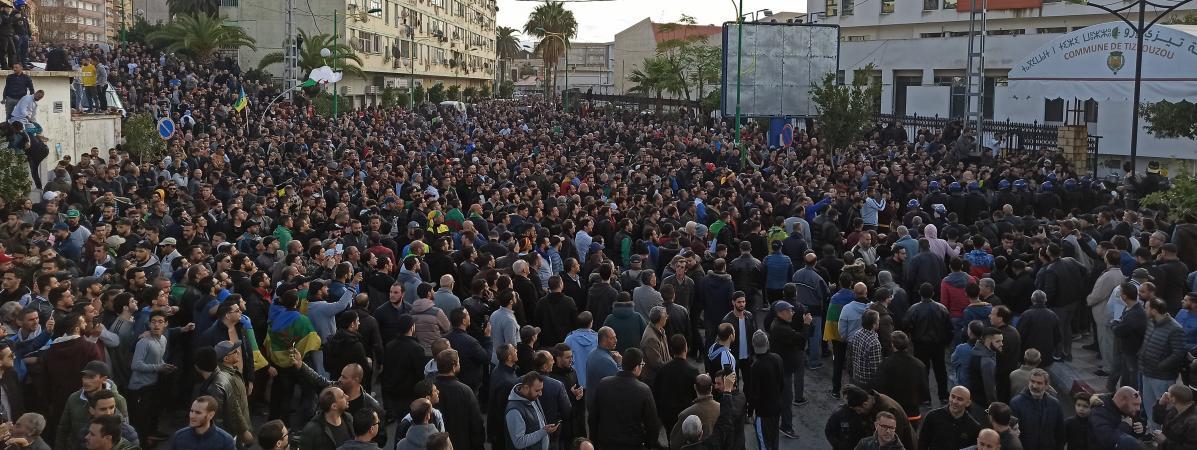 Manifestation contre l\'élection présidentielle à Tizi Ouzou, le 12 décembre 2019.