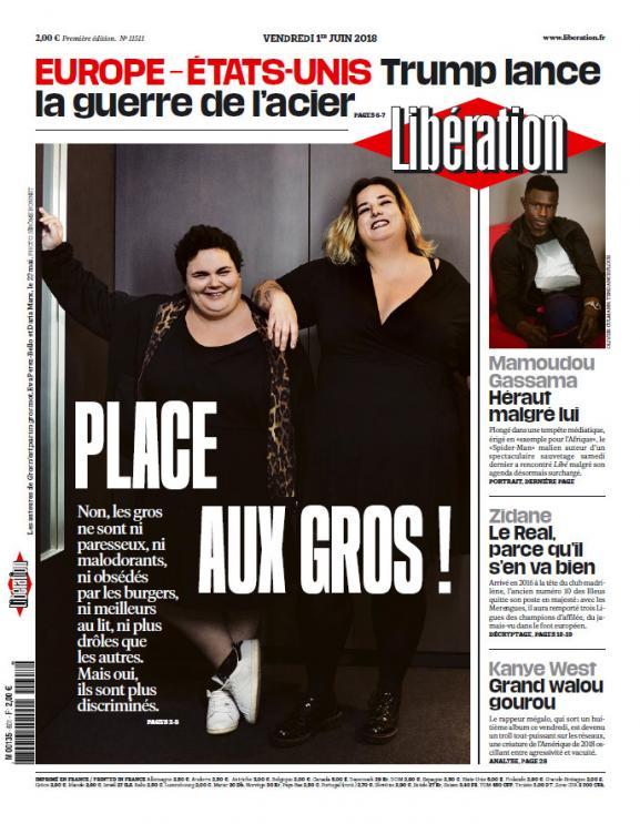 """Une du journal Libérationdu 1er juin 2018 qui titrait \""""Place aux gros\"""""""
