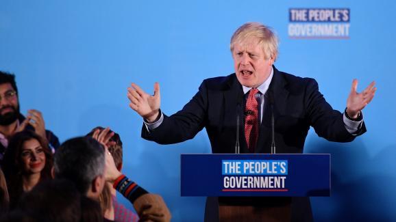 Le Premier ministre britannique, Boris Johnson, après sa victoire aux élections législatives, le 13 décembre 2019 à Londres (Royaume-Uni).