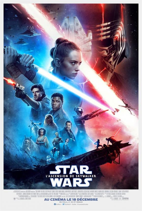"L\'affiche de ""Star Wars : l\'Ascension de Skywalker de J. J. Abrams."