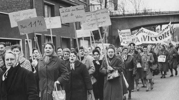 Une manifestation de femmes de mineurs en mars 1963.
