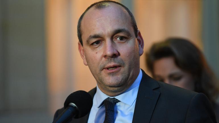 Le leader de la CFDT, Laurent Berger, s\'exprime dans la cour de Matignon, à Paris, le 25 novembre 2019.