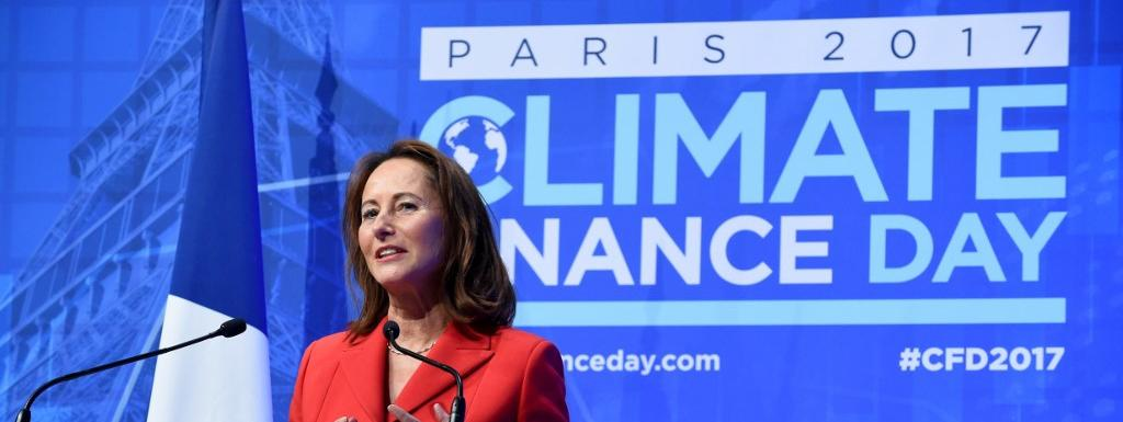 """Ségolène Royal donne un discours au \""""Climate finance day\"""", le 11 décembre 2017 à Paris."""