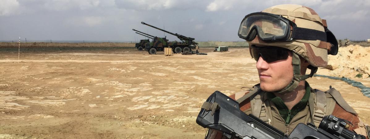Un soldat français engagé au sein de la coalition internationale, le 9 février 2019, près de Al-Qaim, en Irak.