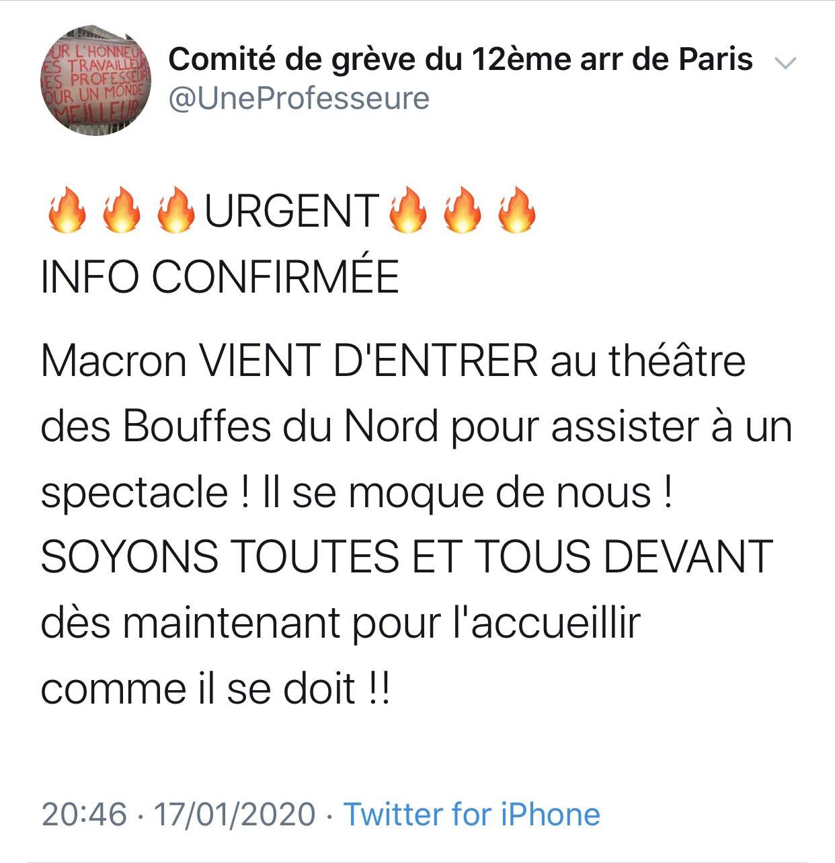 Capture d\'écran d\'un tweet publié le 17 janvier 2020, supprimé depuis.