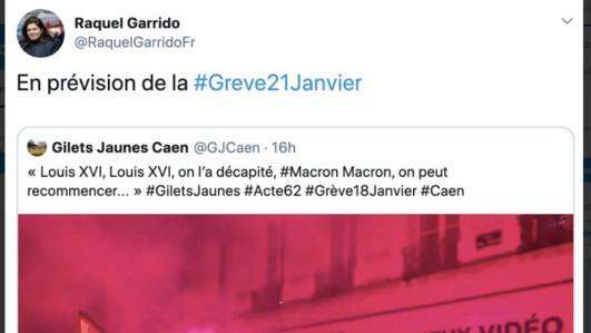 """Le tweet partagé par Raquel Garrido et mentionnant la phrase suivante : \""""Louis XVI, Louis XVI, on l\'a décapité. Macron, Macron, on peut recommencer.\"""" L\'avocate l\'a assorti de ce commentaire : \""""en prévision de la grève du 21 janvier.\"""""""