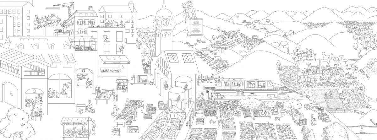 La fresque de Julien Dossier etJohann Bertrand d'Hy pour représenter une ville et une campagne durables.
