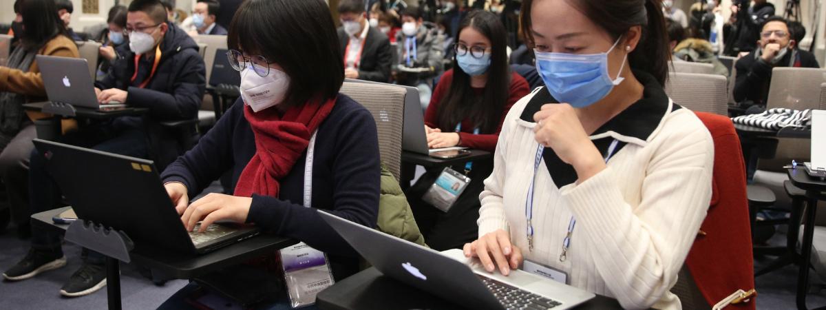 Des journalistes lors d\'un point pressede la Commission de la santé sur l\'épidémie du nouveau coronavirus à Pékin, en Chine, le 26 janvier 2020.