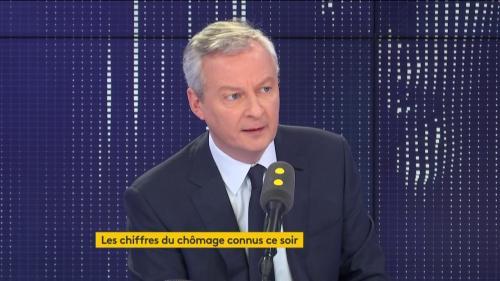 """VIDEO. Chômage: Bruno Le Maire se félicite d'un """"taux qui va être un des plus faibles des 15 dernières années"""""""