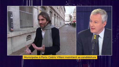 """VIDEO. Cédric Villani maintient sa candidature à Paris: """"Je regrette cette décision parce qu'elle nous affaiblit tous"""", déclare Bruno Le Maire"""