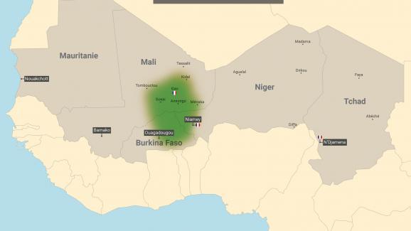 """Sahel, zone couverte par l\'opération Barkhane. En vert, la région dite des \""""trois frontières\""""."""