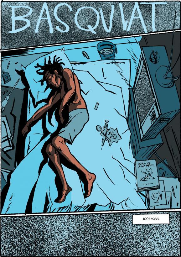 """La planche d\'ouverture de la biographie dessinée \""""Basquiat\"""" de Julian Voloj et Soren Mosdal, qui commence par la fin tragique du peintre new-yorkais à l\'âge de 27 ans."""