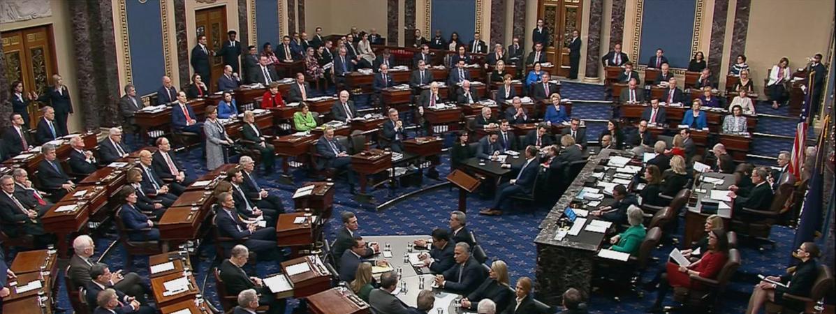 Les sénateurs en plein vote pour ou contre la destitution de Donald Trump, le 5 février 2020, à Washington DC.