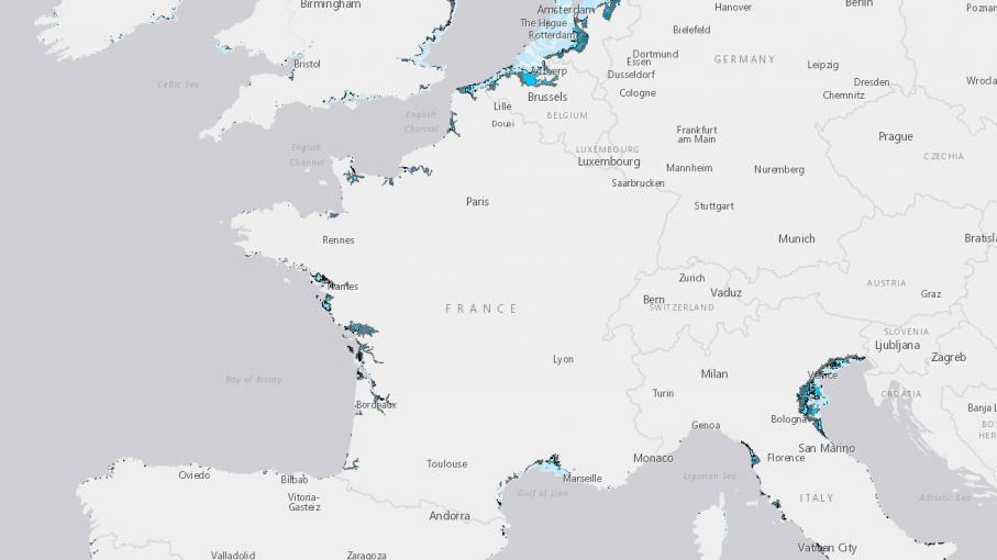 Populations européennes exposées à une hausse du niveau de la mer (de 1m à 6 m).
