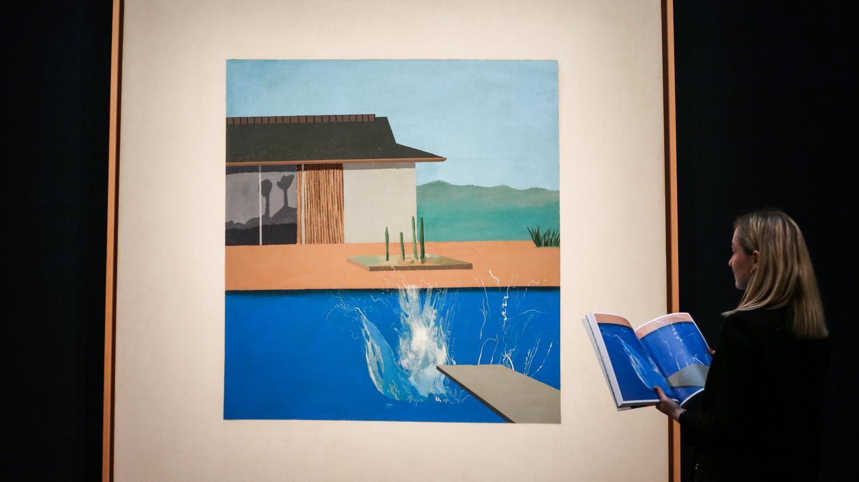 """La peinture """"The Splash"""" du Britannique David Hockney vendue 27,4 millions d'euros à Londres"""
