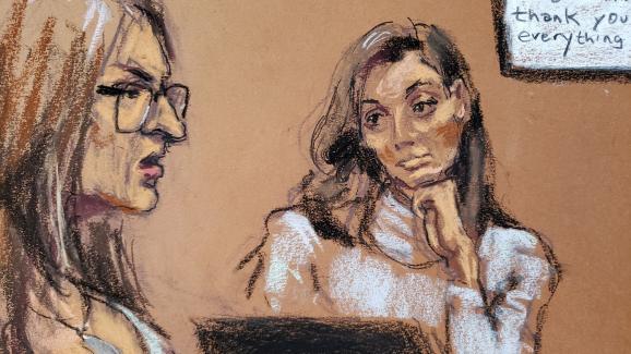 Jessica Mann, l\'une des deux plaignantes au procès Harvey Weinstein à New York, est interrogée par l\'avocate de la défense Donna Rotunno, le 4 février 2020.