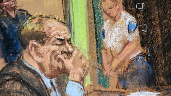 L\'ancien producteur Harvey Weinstein lors de son procès pour viols et agressions sexuelles à New York, le 11 février 2020.