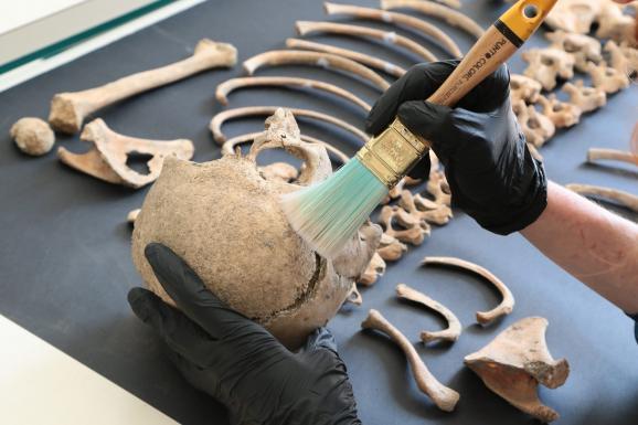 Le squelette d\'un enfant de 7-8 ans retrouvé sur le site de Pompéi, 26 avril 2018
