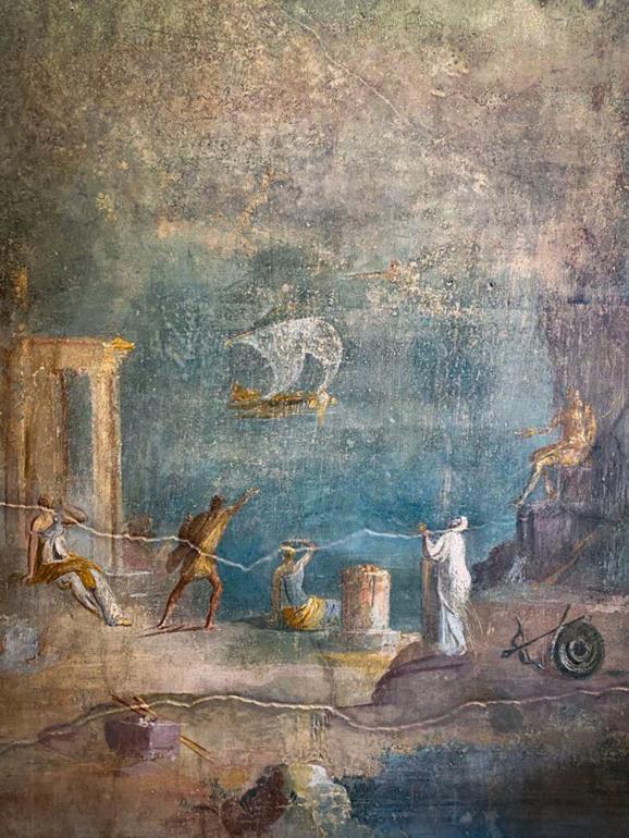 """Fresque de la \""""Maison du verger\"""", Pompéi, le 18 février 2020"""