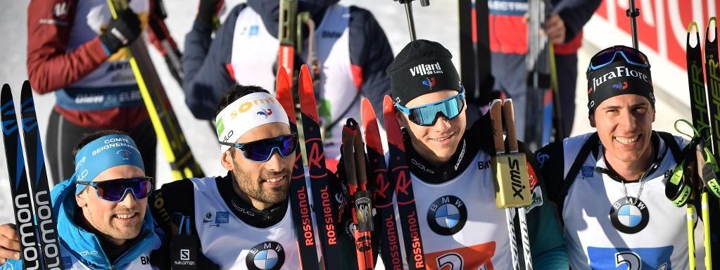 Simon Desthieux, Martin Fourcade, Emilien Jacquelin and Quentin Fillon Maillet ont remporté l\'épreuve de relais masculin des Mondiaux de biathlon, le 22 février 2020, à Antholz, en Italie.