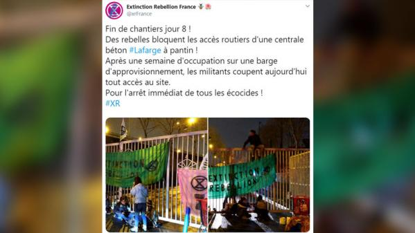 Pantin : cinq militants d'Extinction Rebellion bloquent une partie du site du cimentier Lafarge