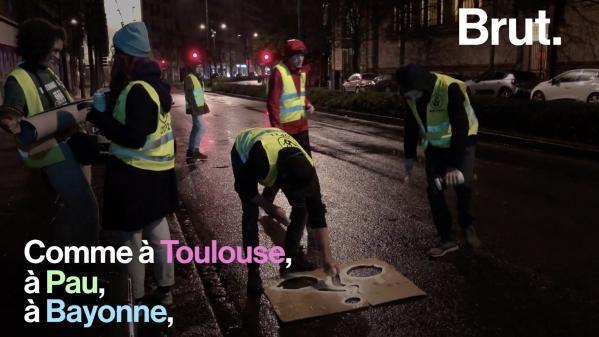 VIDEO. À Rennes, des militants d'ANV-COP 21 tracent des pistes cyclables sauvages