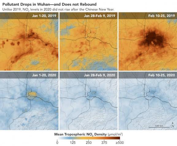 Pollution au dioxyde d\'azote dans la région de Wuhan (Chine), en janvier-février 2019 et janvier-février 2020.